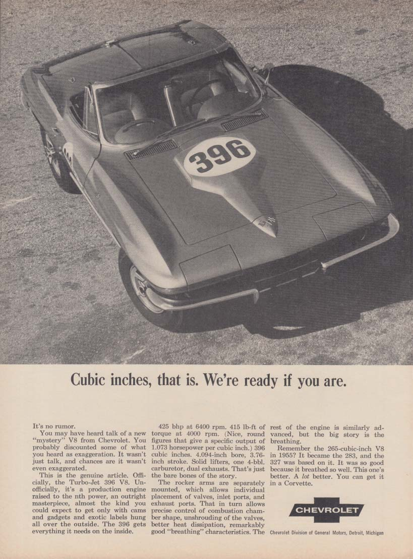 Cubic inches, that is. We're ready if you are Corvette 396 ad 1965 RT