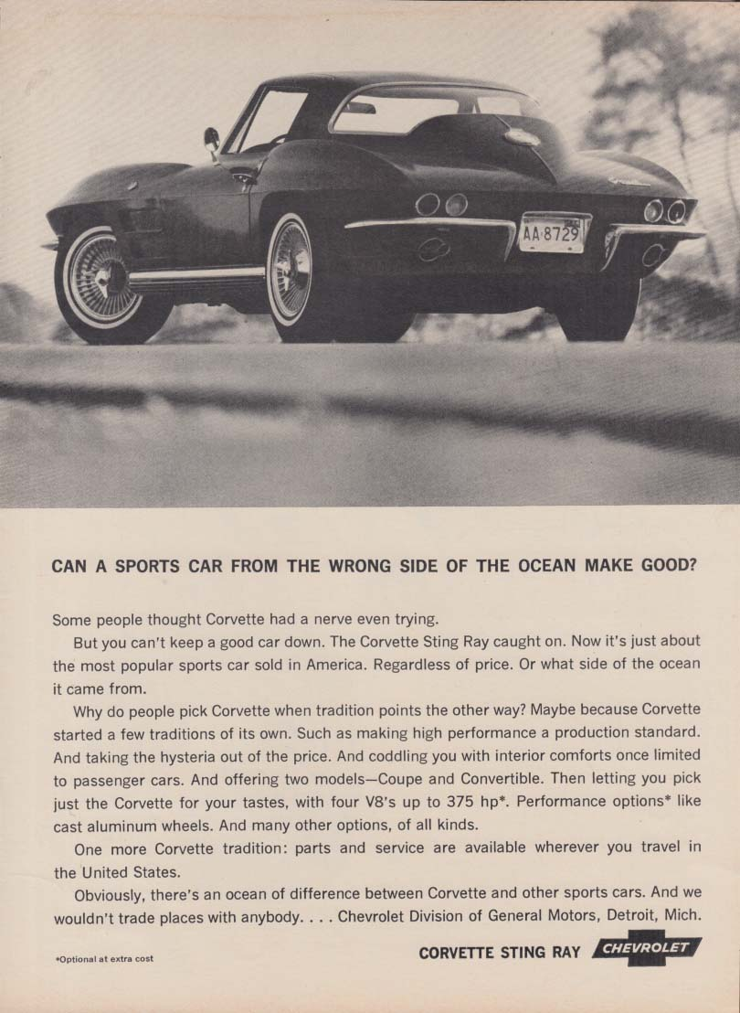 Can a sports car from the wrong side of the ocean make good? Corvette ad 1964 RT