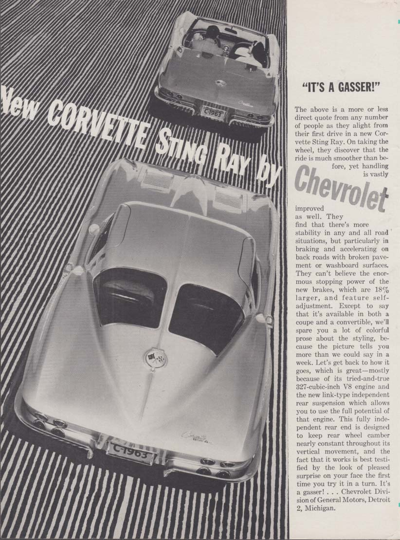 It's a gasser! New Corvette Sting Ray by Chevrolet ad 1963 RT