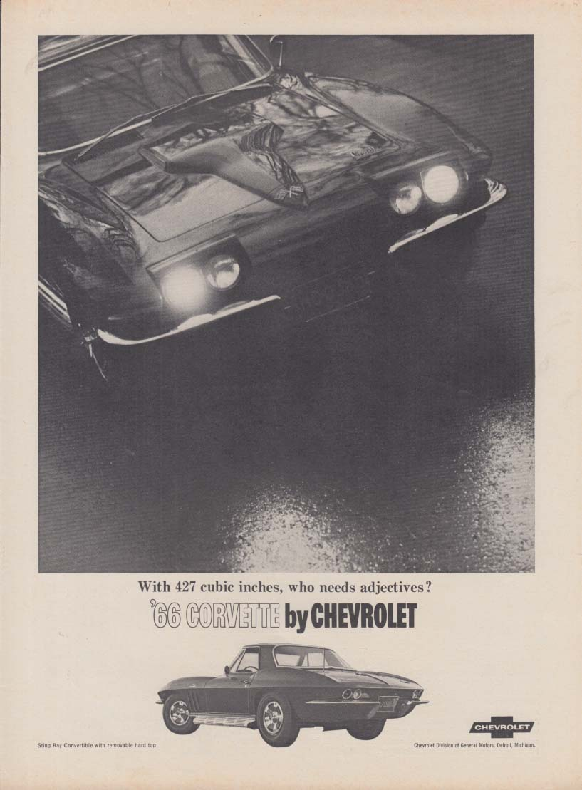 With 427 cubic inches who needs adjectives Corvette ad 1966 RT