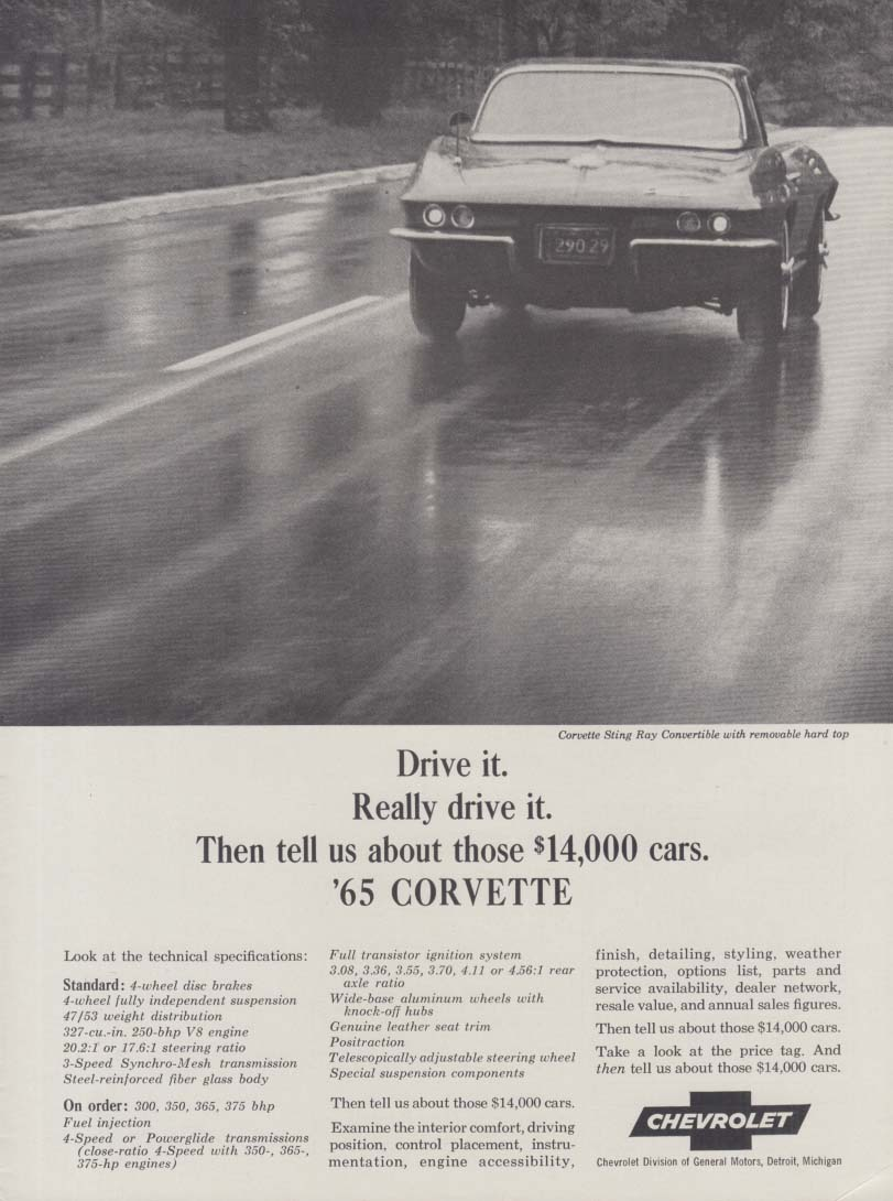 Really drive it Then tell us about those $14000 cars Corvette ad 1965 CD