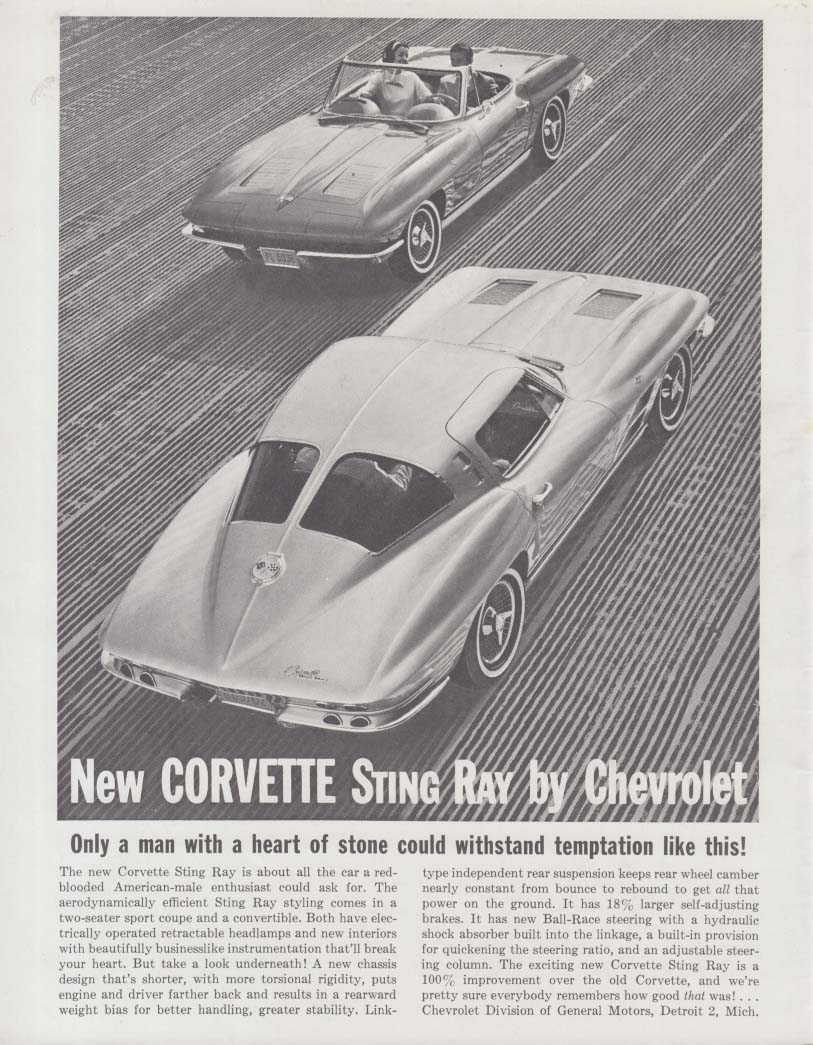 Only a man with a heart of stone . . . Corvette Sting Ray ad 1963 GP