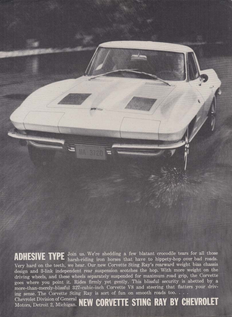 Adhesive type - Chevrolet Corvette Sting Ray ad 1963 RT