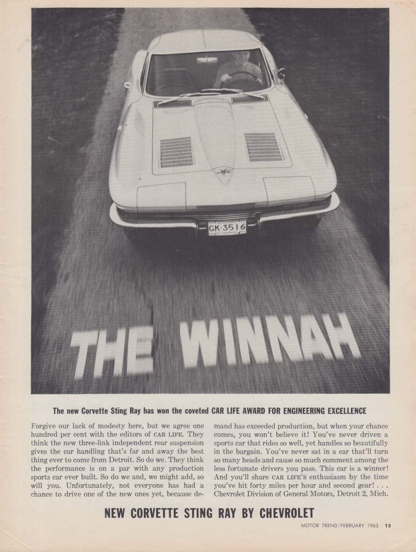 The Winnah - Car Life Award for Engineering Excellence - Corvette ad 1963 MT