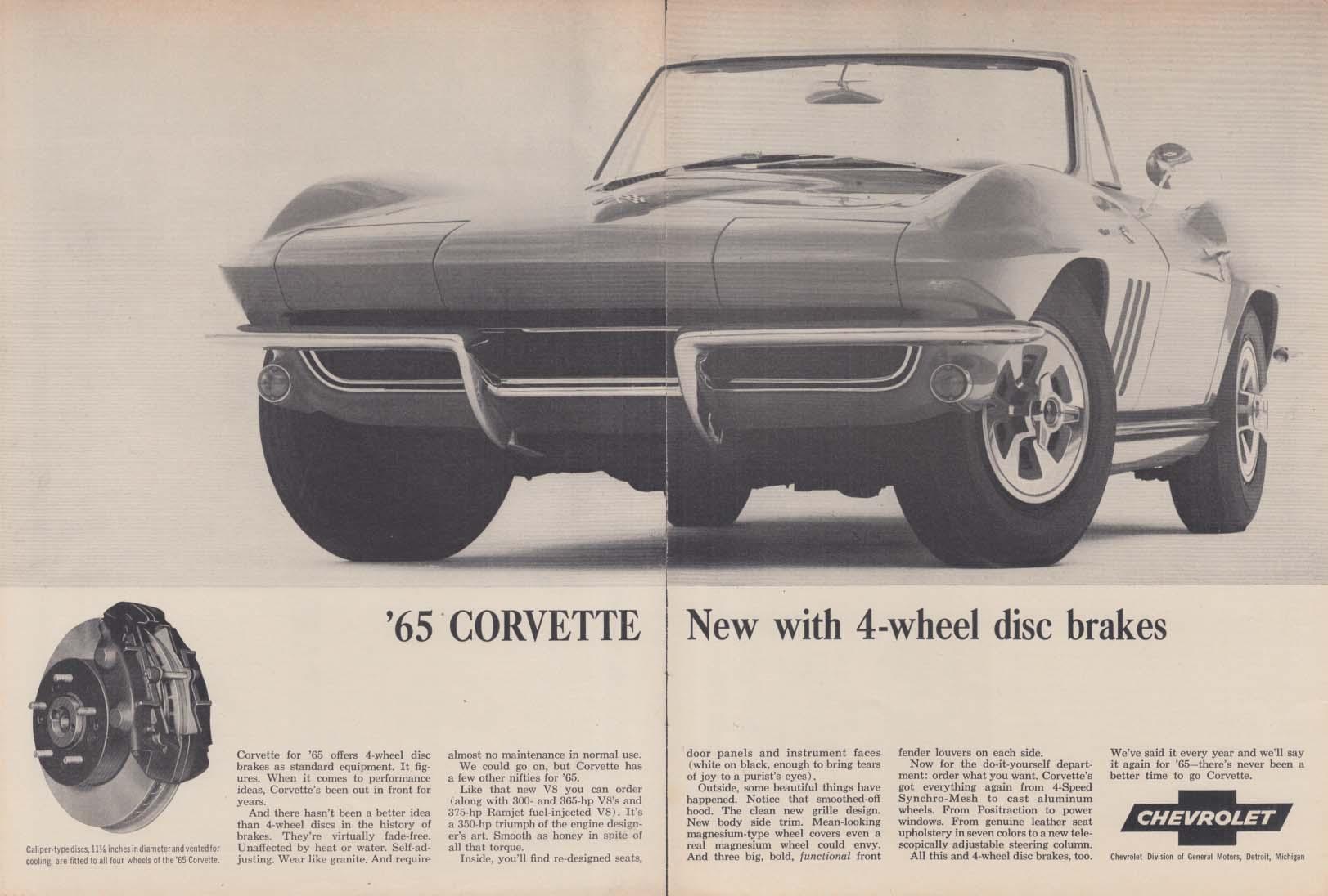 New with 4-wheel disc brakes Corvette ad 1965 RT