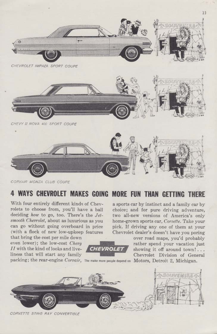 4 ways Chevrolet makes going more fun Corvette Corvair Chevy II ad 1963 Pbill