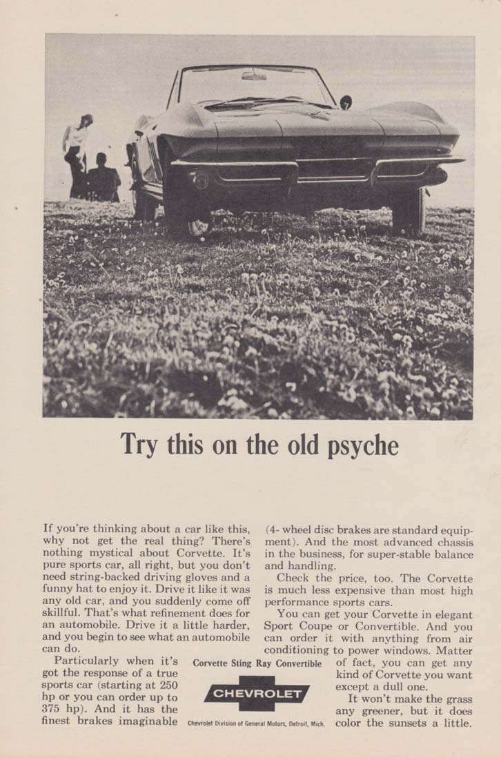 Try this on the old psyche Corvette ad 1965 Playbill
