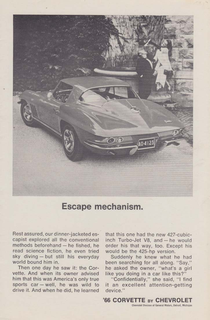 Escape mechanism. Corvette Sting Ray Coupe ad 1966 Playbill