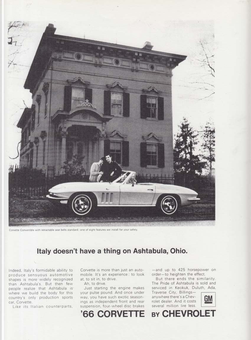 Italy doesn't have a thing on Ashtabula Ohio Corvette ad 1966 USNA Yearbook