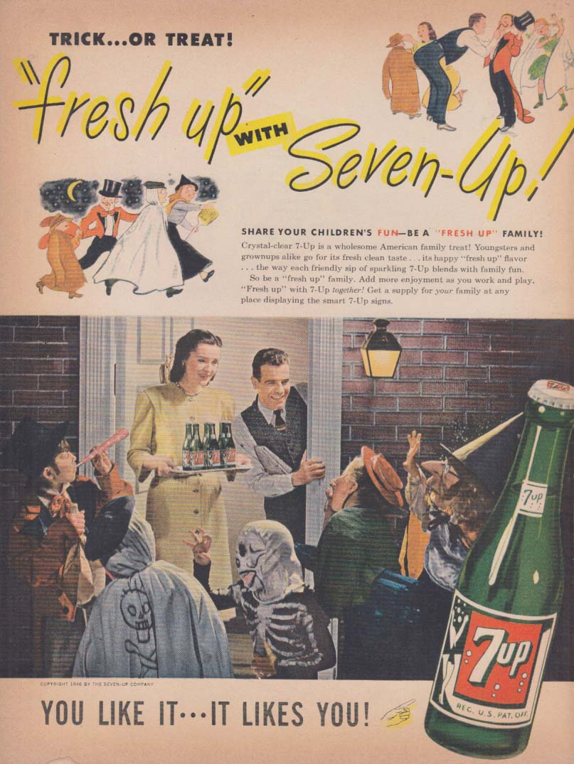 Trick or Treat! Halloween kids 7-Up ad 1946