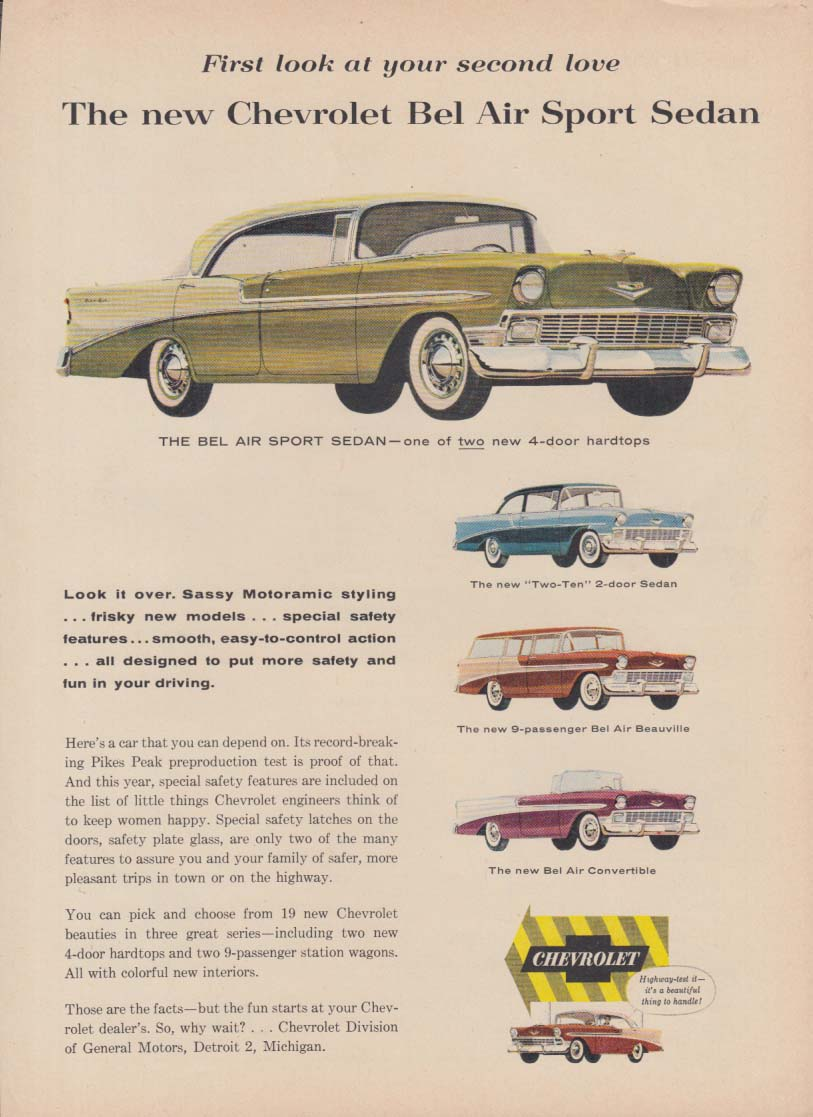 First look at your second love Chevrolet Bel Air Sport Sedan ad 1956 GH