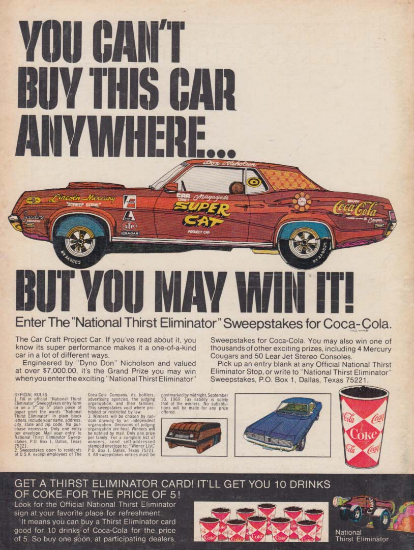 You can't buy this Mercury Cougar Super Cat Coca-Cola Sweepstakes ad 1969 MT