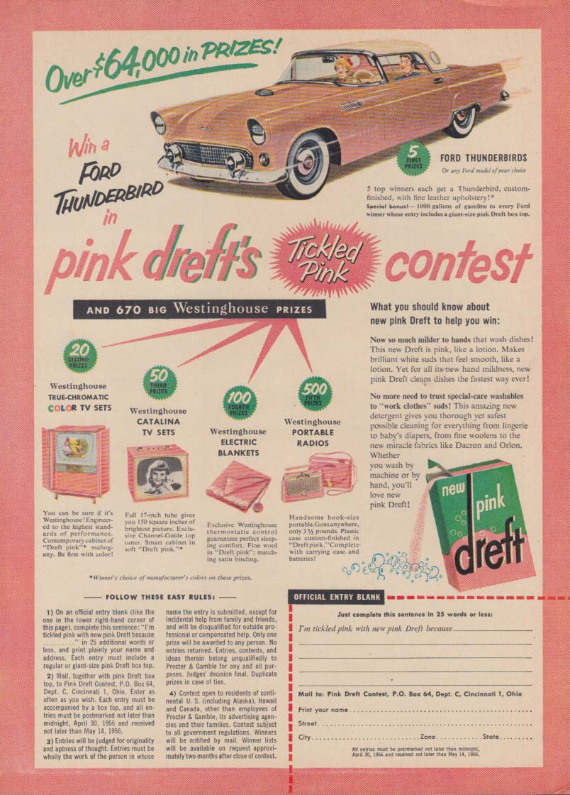Over $64,000 in Prizes! Dreft Detergent Contest ad 1956 Thunderbird GH