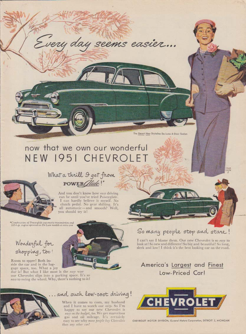 Every day seems easier with our new Chevrolet ad 1951 HH