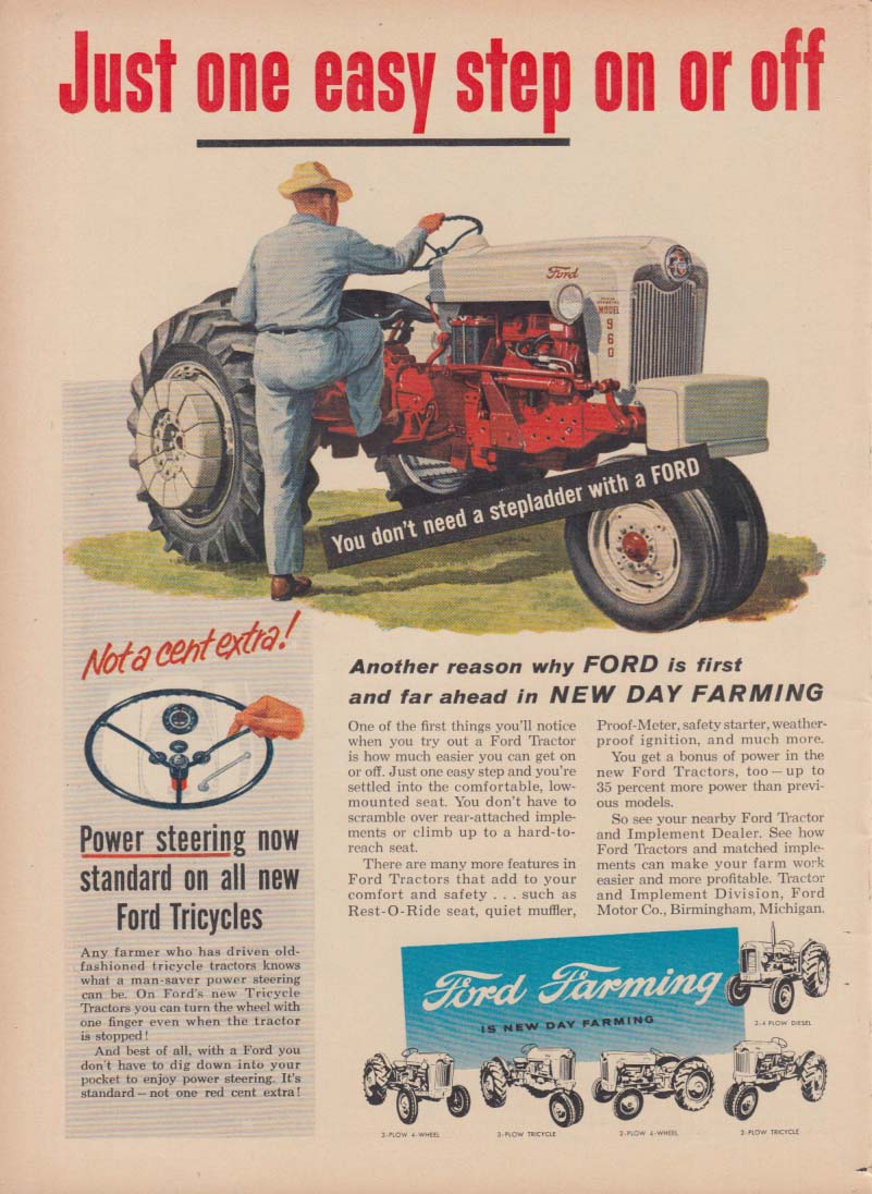 Just one easy step on or off Ford Farm Tractor ad 1956