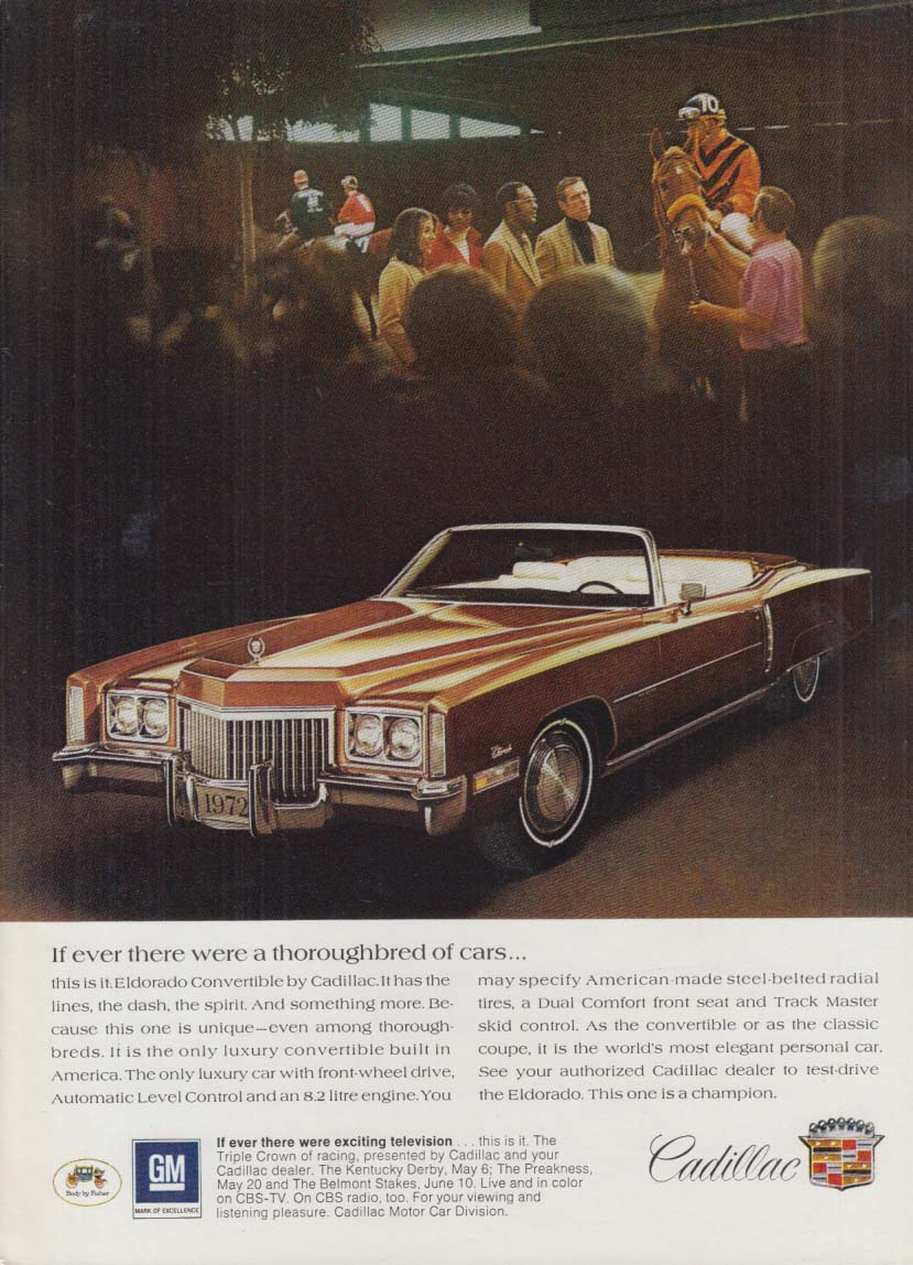 If ever there were a thoroughbred of cars Cadillac Eldorado ad 1972 NY