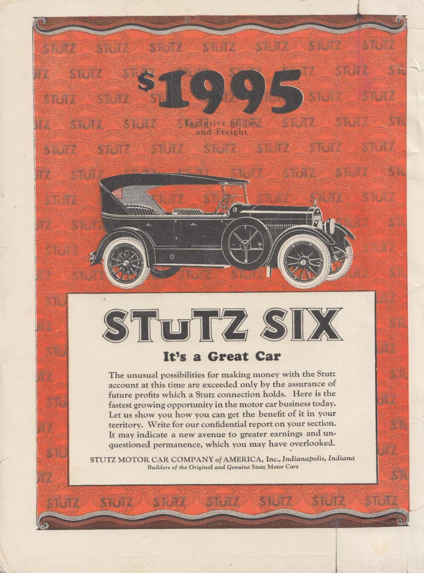 It's a Great Car - Stutz Touring Car $1995 ad 1923