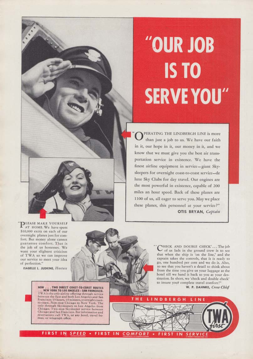Our job is to serve you TWA Captain Air Hostess & Crew Chief ad 1937
