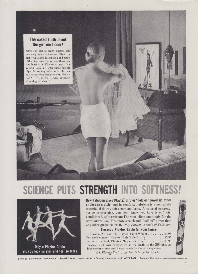 Science puts strength into softness Playtex Girdle ad 1955 topless from back