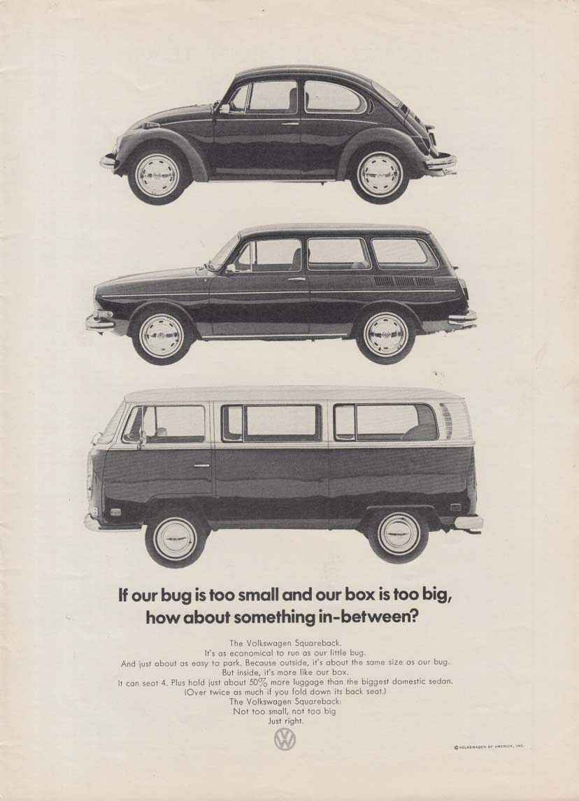 Bug too small, box too big, Something in-between? Volkswagen ad 1971 NY