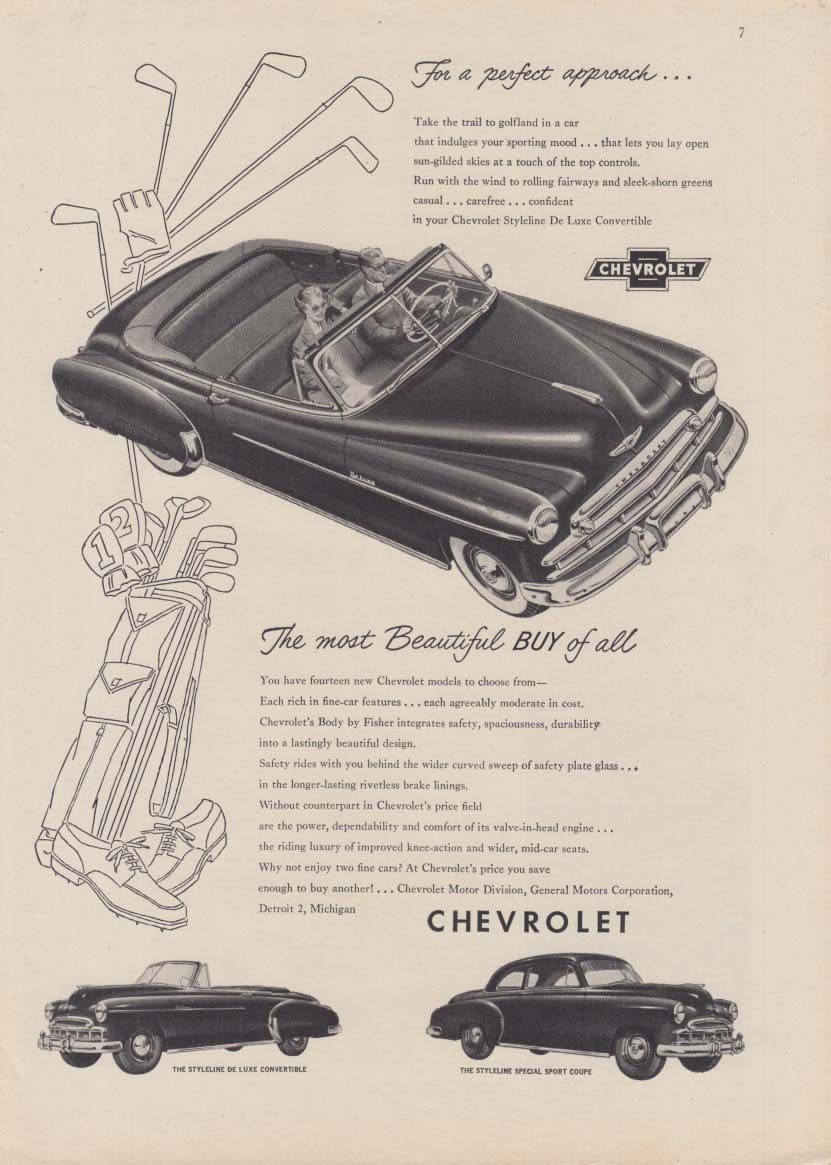 The most Beautiful Buy of all Chevrolet Convertible ad 1949 NY golk motif