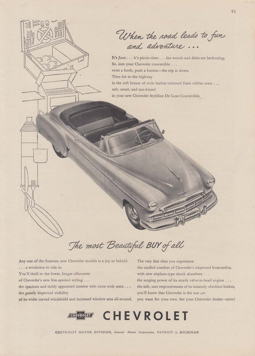 When the road leads to fun & adventure Chevrolet Convertible ad 1949 NY