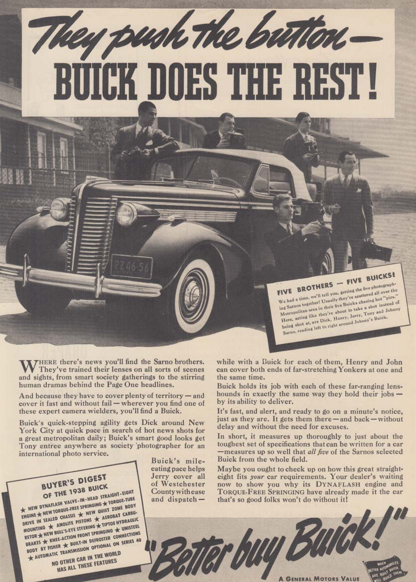 They push a button Buick Convertible does the rest ad 1938 NY Sarno Brothers