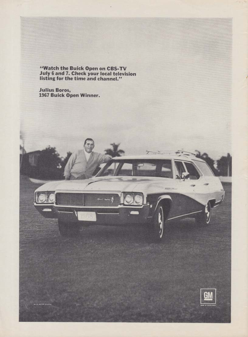 Watch the Buick Open on CBS-TV - Julius Boros Buick Sport Wagon ad 1968 SI