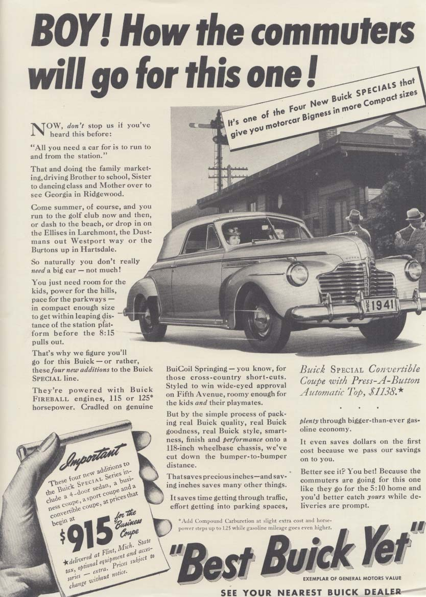 Boy! How the commuters will go for this Buick Convertible ad 1941 NY