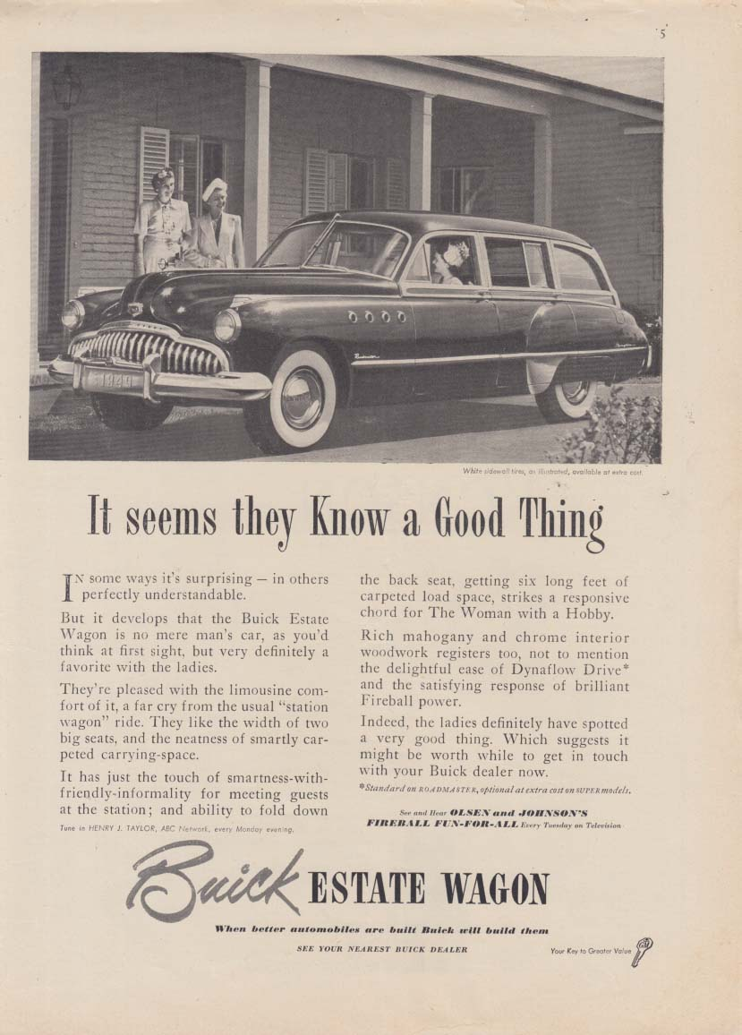 It seems they know a good thing Buick Estate Wagon ad 1949 NY