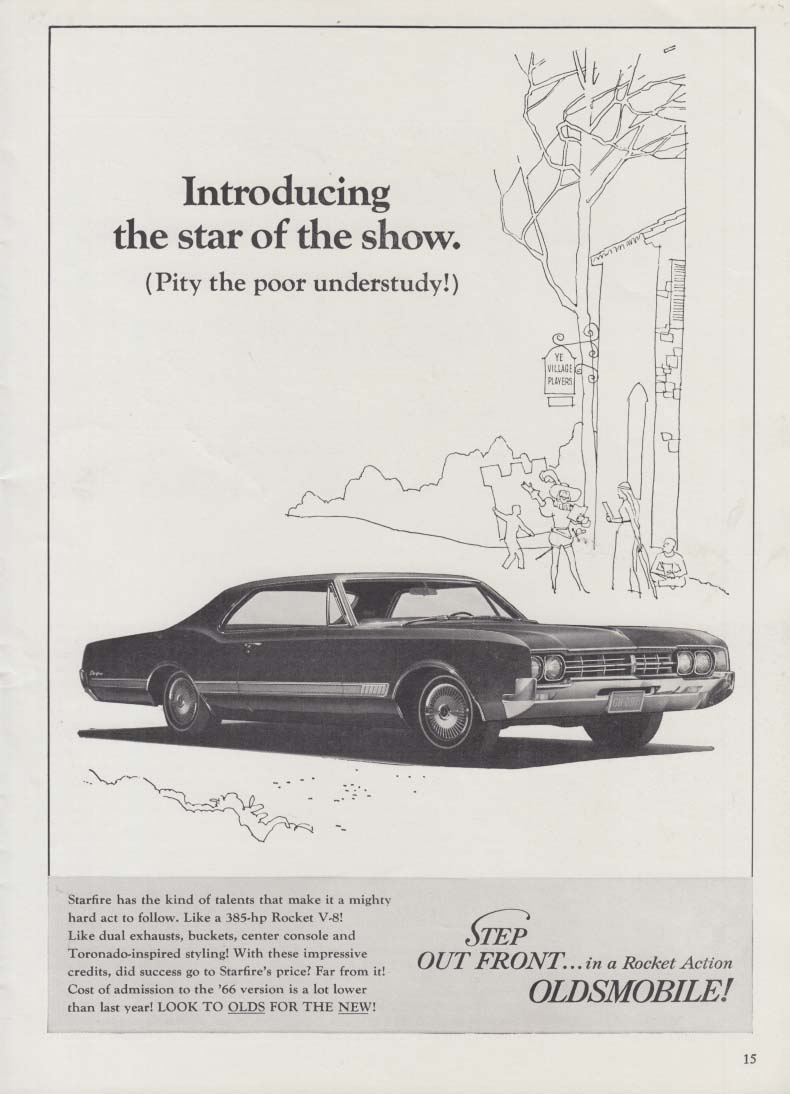 Introducing the star of the show Oldsmobile Starfire ad 1966