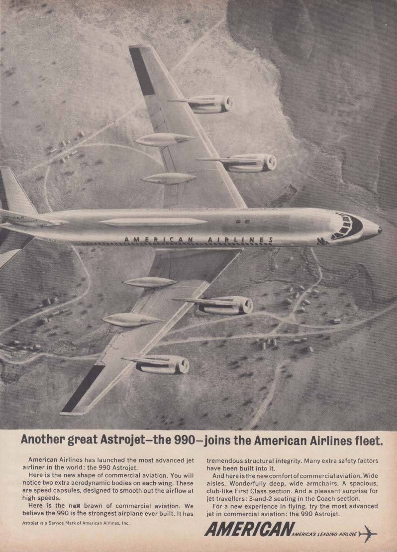 Another great Astrojet joins the American Airlines fleet Convair 990 ad 1962