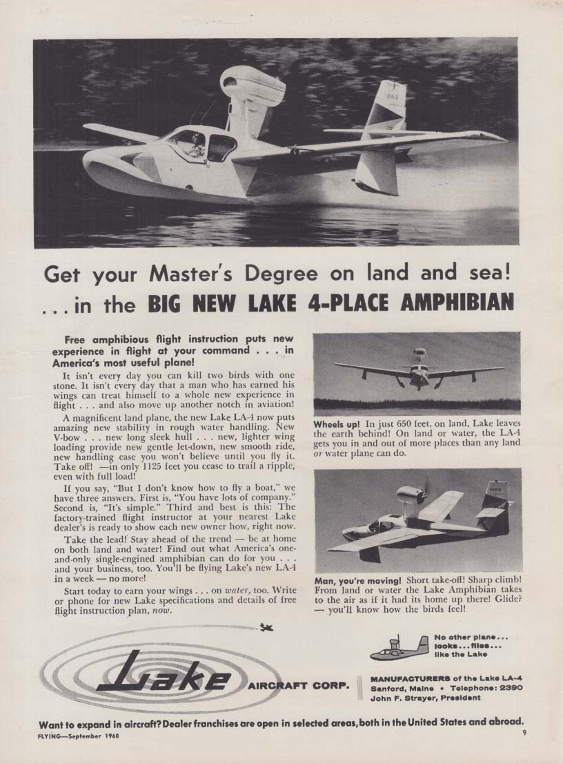 Get your Master's Degree on land & sea Lake 4-Place Amphibian ad 1960