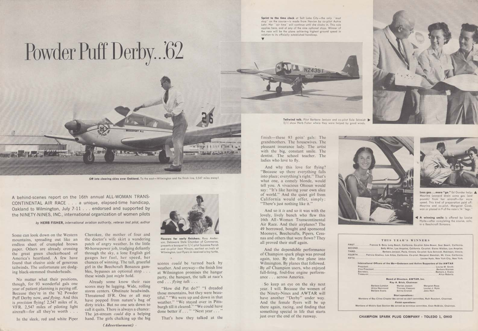 Powder Puff Derby 1962 All-Woman Transcontinental Race Champion Spark Plugs ad