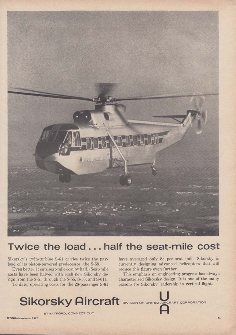 Twice the load - half the seat-mile cost - Sikorsky S-61 helicopter ad 1962