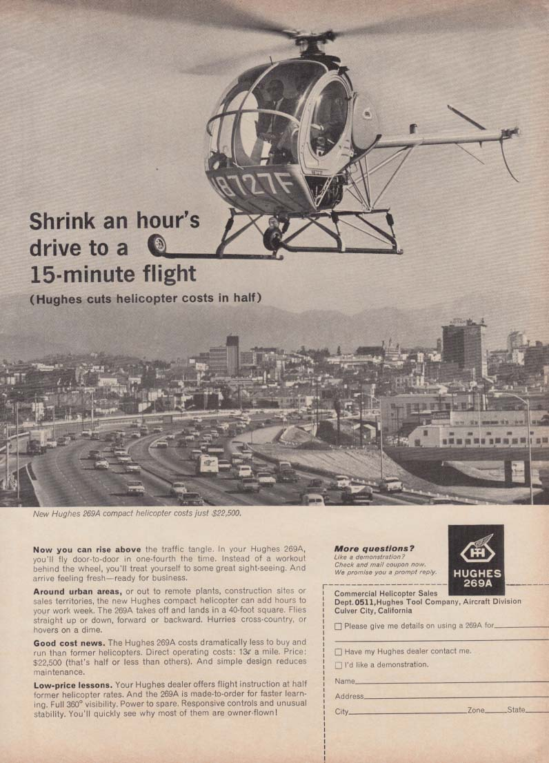 Shrink an hour's drive to a 15-minute flight - Hughes 269A Helicopter ad 1963