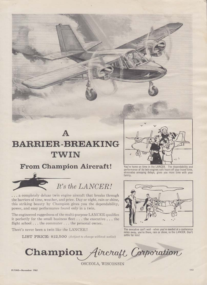 A Barrier-Breaking Twin - Champion Lancer airplane ad 1961