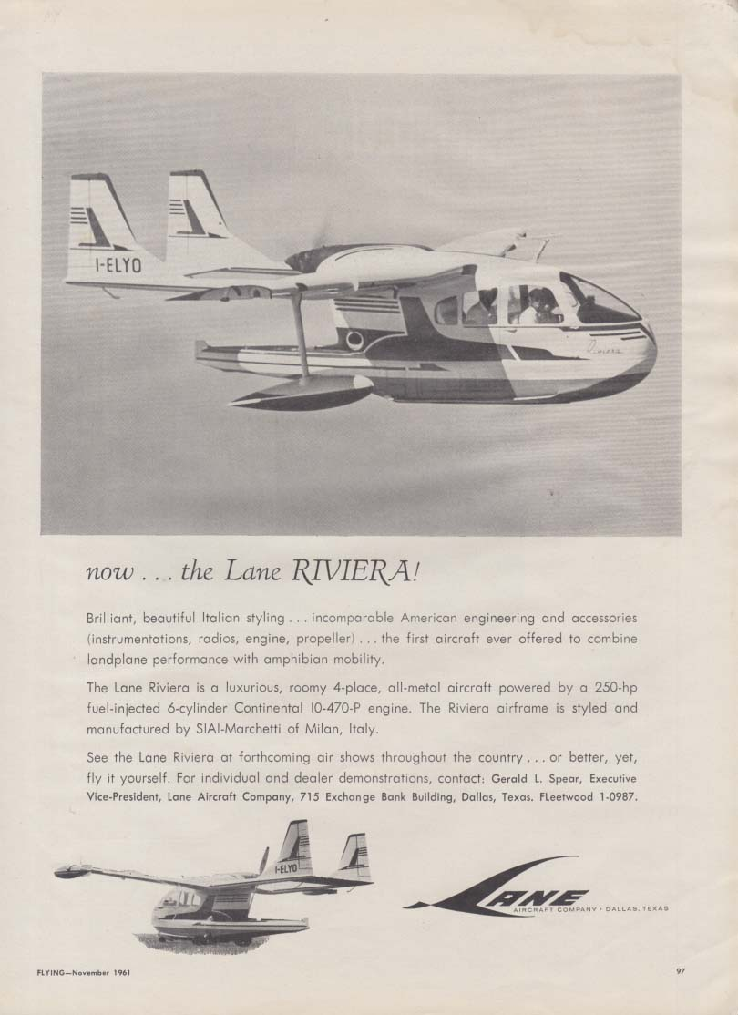 Now the Lane Riviera 4-place airplane ad 1961