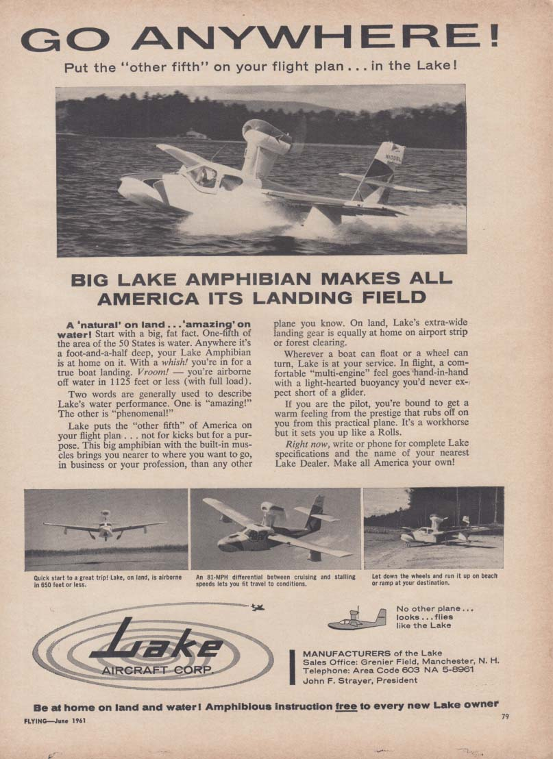 Go Anywhere! Lake Amphibian seaplane ad 1961