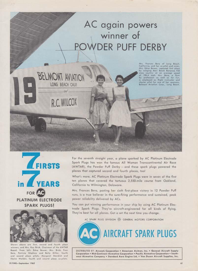 AC powers winner of Powder Puff Derby Al-Woman Transcontinental Race ad 1962