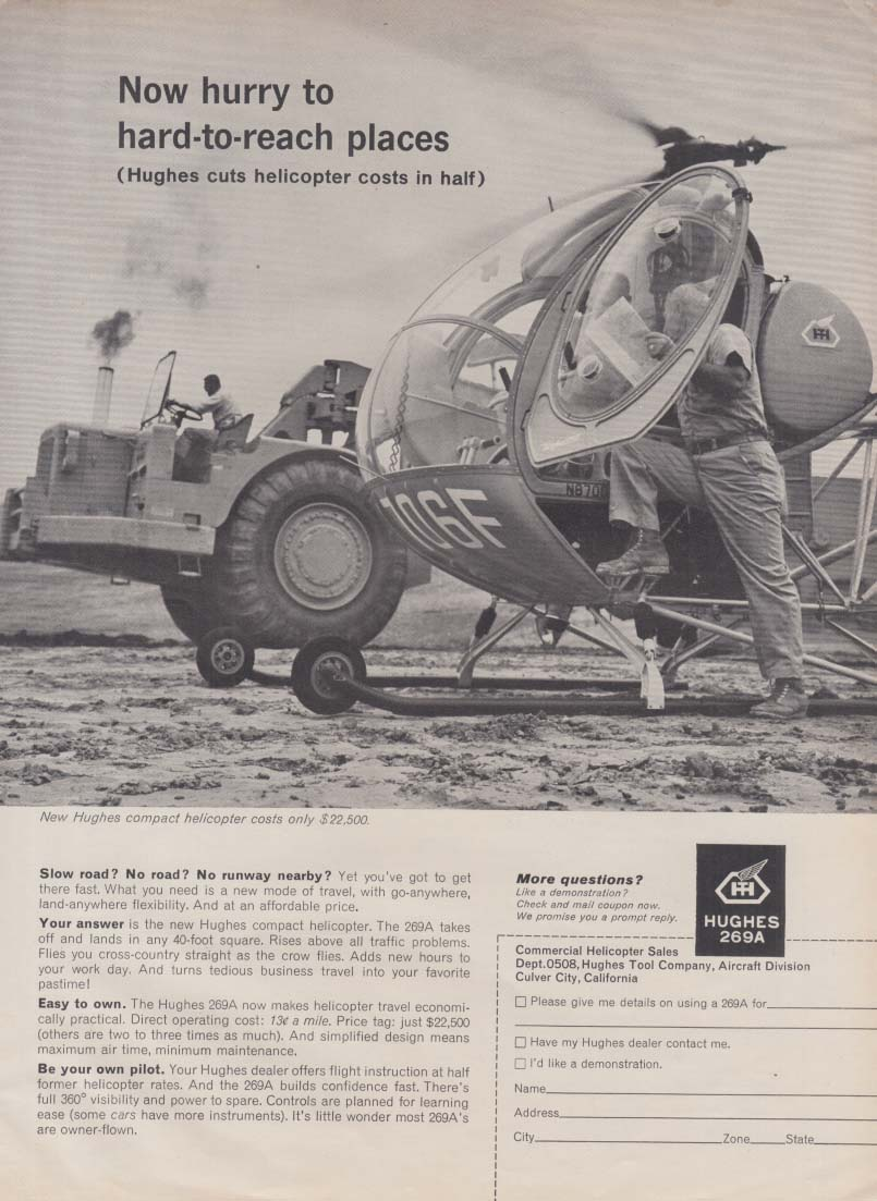 Now hurry to hand-to-reach places - Hughes 269A Helicopter ad 1962