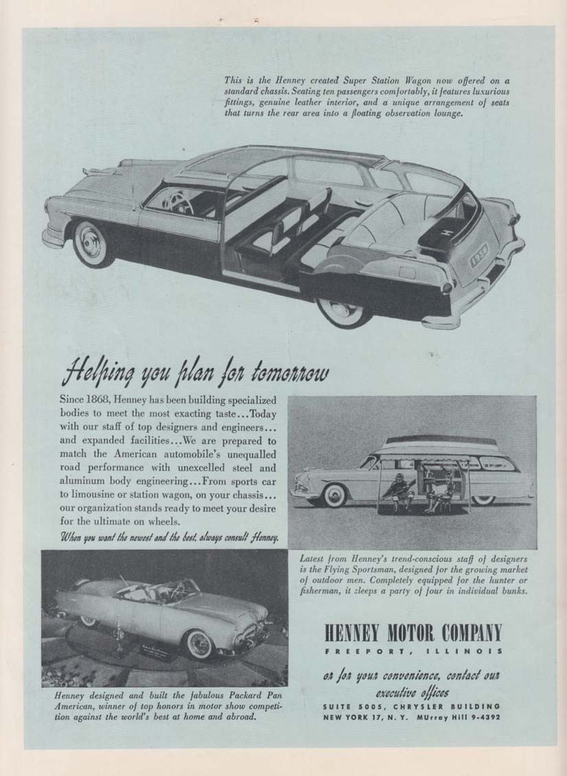 Helping you plan for tomorrow Henney Ambulance & Packard Pan American ad 1954