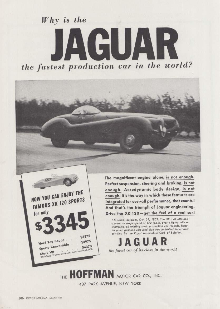 Why the Jaguar XK-120 is the fastest production car in the world ad 1954