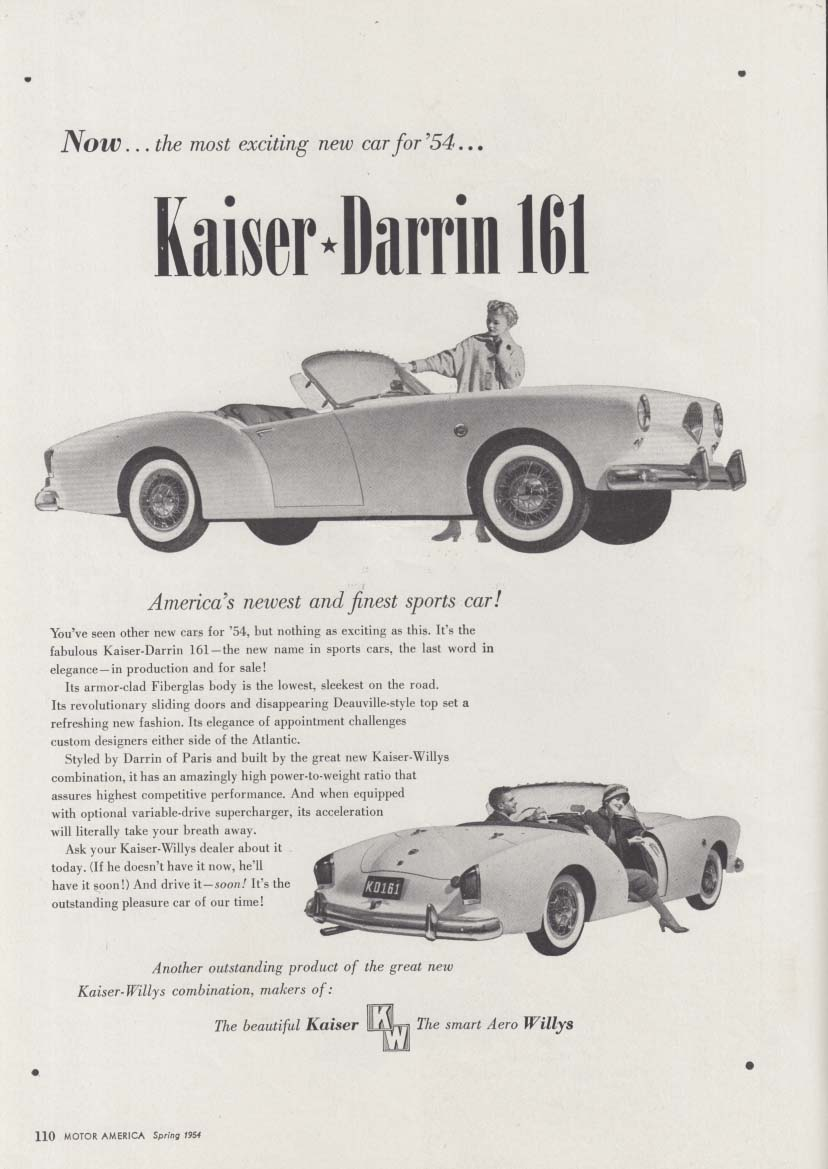 Now the most exciting new car for '54 - Kaiser-Darrin 161 ad 1954