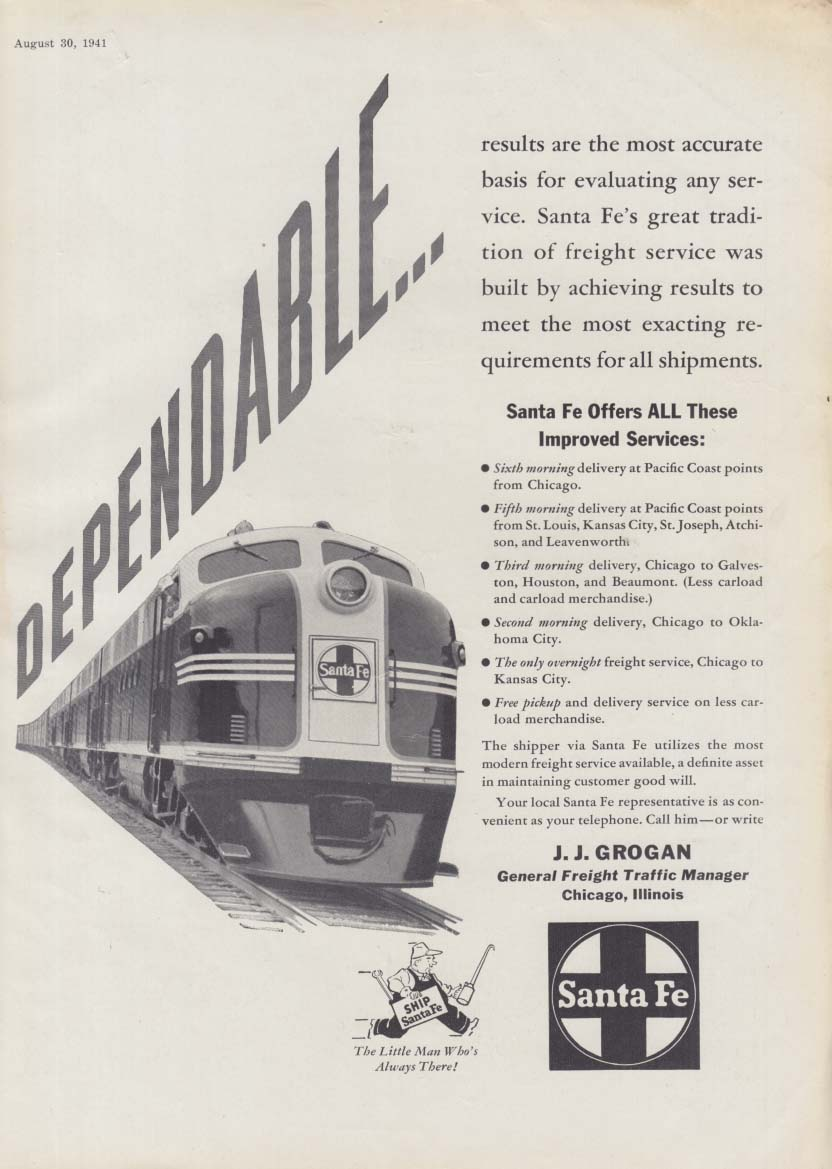Dependable: Results are the most accurate basis Santa Fe Railroad ad 1941