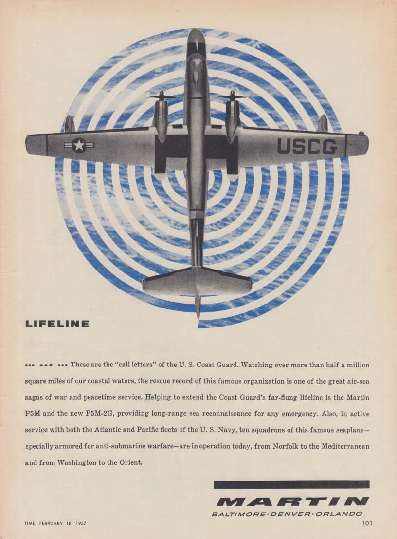 Lifeline … --- … the call letters of the US Coast Guard Martin P5M ad 1957