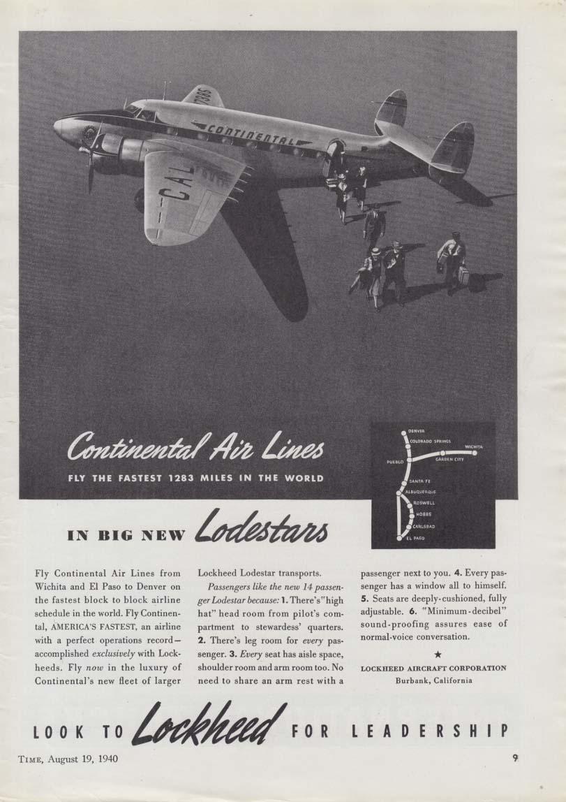 Continental Air Lines in big new Lockheed Lodestars ad 1940