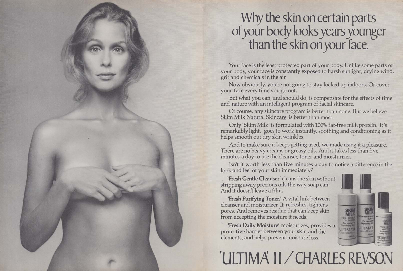 Why the skin looks years younger Ultima II makeup ad 1974 Lauren Hutton topless