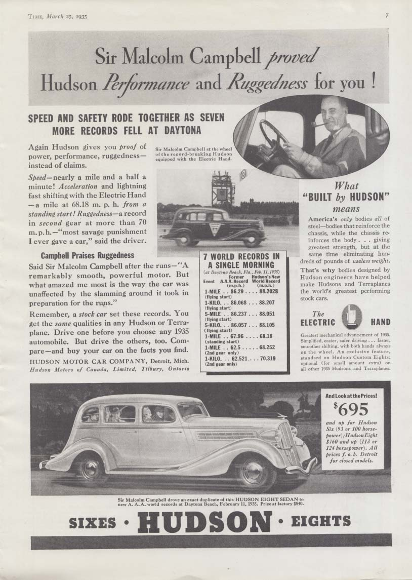 Sir Malcolm Campbell proved Hudson performance & ruggedness ad 1935 T