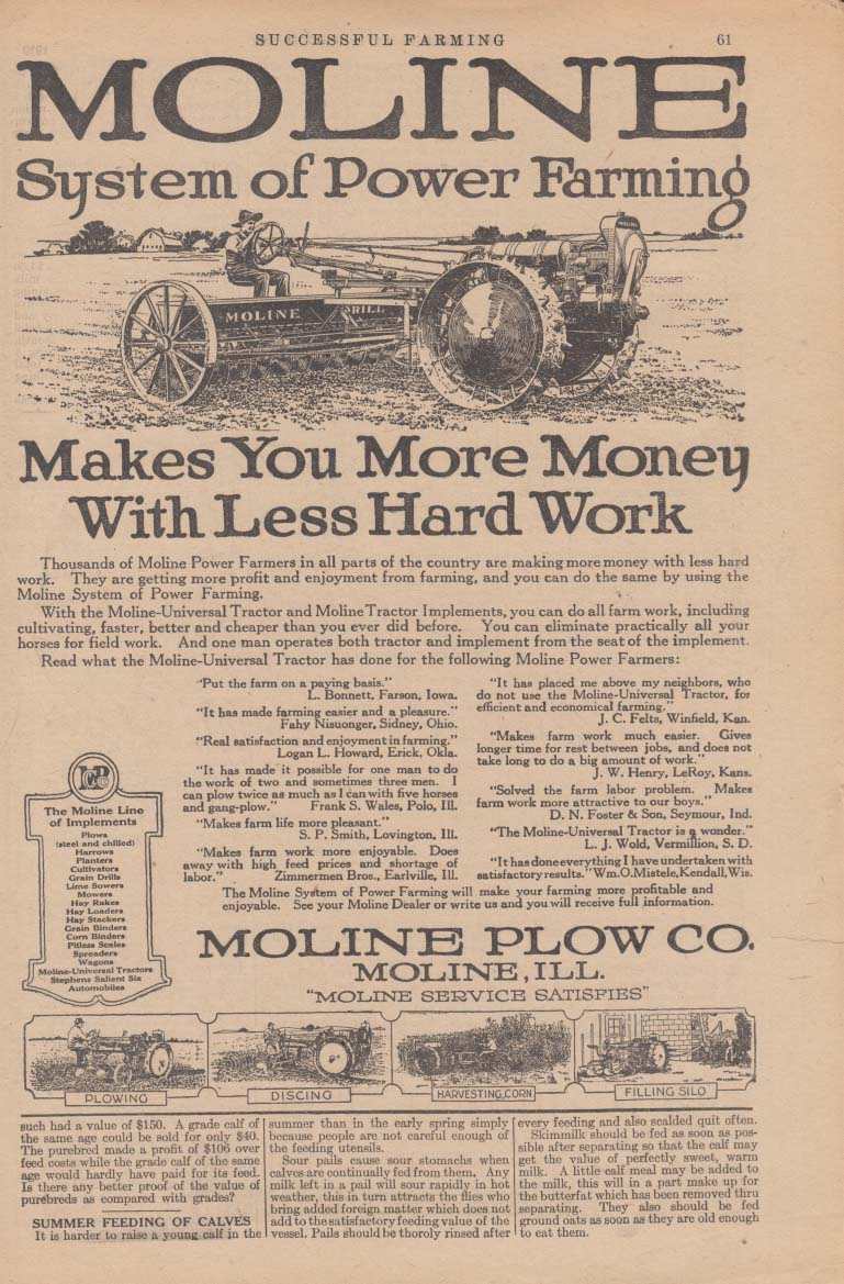 Moline System of Power Farming Tractor ad 1919